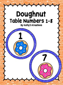 Doughnuts 1-8 Table Numbers
