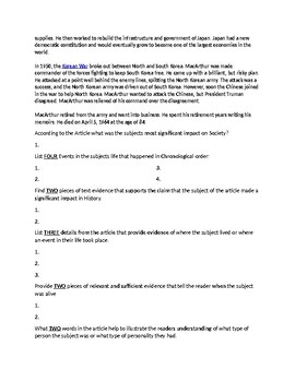 Douglas MacArthur Biography Article and Assignment Worksheet