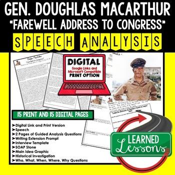Douglas MacArthur Farewell to Congress Speech Analysis & Writing Activity Google