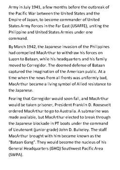 Douglas MacArthur's escape from the Philippines Handout