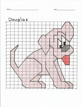Quadrant 1 Coordinate Graph Mystery Picture, Douglas the Dog