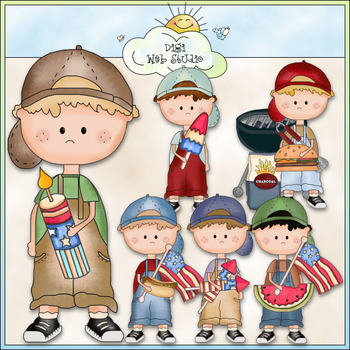 Dougy Fourth of July Clip Art - CU Colored Clip Art