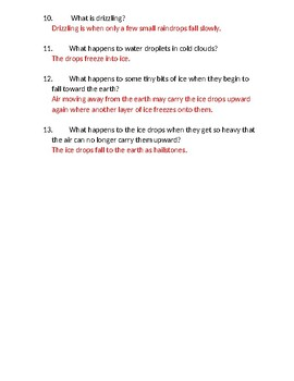 Down Comes the Rain Comprehension Questions and Test