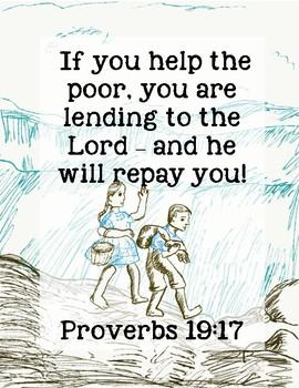 Down Down the Mountain Bible Verse Printable (Proverbs 19:17)
