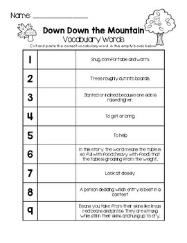 Down Down the Mountain  - Vocabulary Words