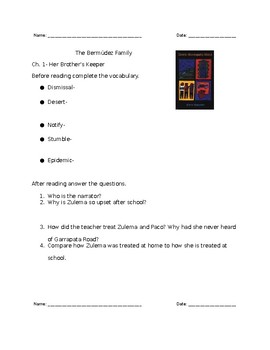 Down Garrapata Road Reading Questions and Vocabulary