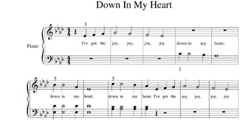 """""""Down In My Heart""""  Hymn For The Elementary Level Piano Student"""