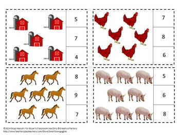 Farm Animals Count to 20 Count Clip Kindergarten Math Special Education Math