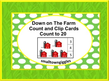Farm Animals Counting to 20 Count and Clip Kindergarten Ma
