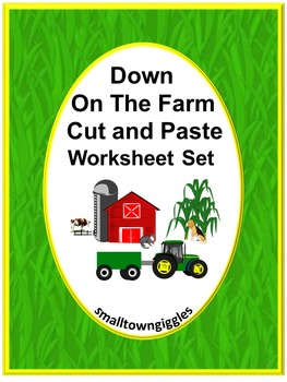 Farm Cut and Paste No PREP Printables for Math and Literac