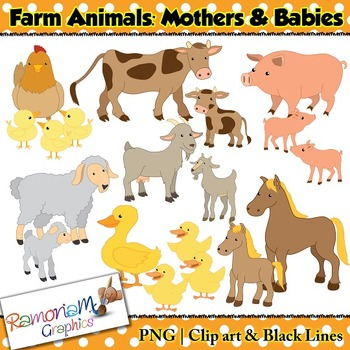 Farm Animals Clip art by RamonaM Graphics | Teachers Pay ...