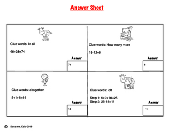 Down On The Farm Word Problem Scavenger Hunt