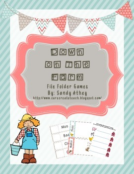 Down On the Farm File Folder Games for Preschool/Kindergarten