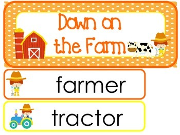 Down On the Farm Word Wall Weekly Theme Posters.