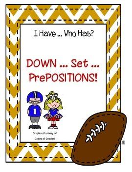"""Down, Set, Prepositions!"" Grammar Game"