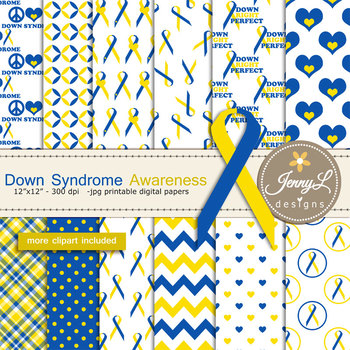 Down Syndrome Awareness Digital Papers And Blue Yellow Ribbon