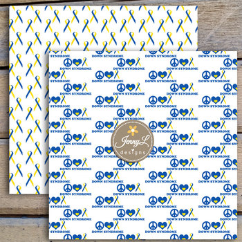 Down Syndrome Awareness Digital papers and Blue Yellow Ribbon clipart SET