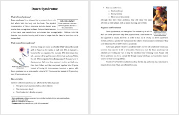 Down Syndrome - Science Reading Article - Grades 5-7