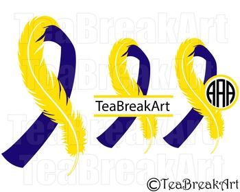 Down Syndrome feather ribbon Awareness Digital  ClipArt  SVG PNG EPS 748C