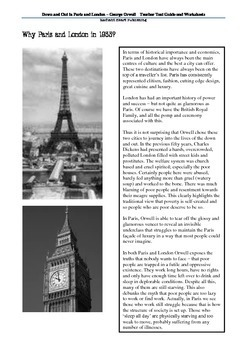 Down and Out in Paris and London Orwell TTG and Worksheets
