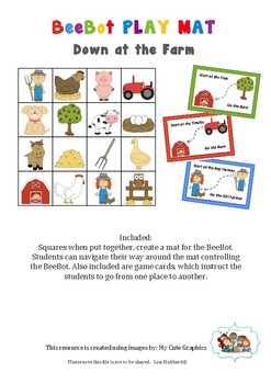Down at the Farm BeeBot Play Mat & Instruction movement cards. Bee Bot Coding