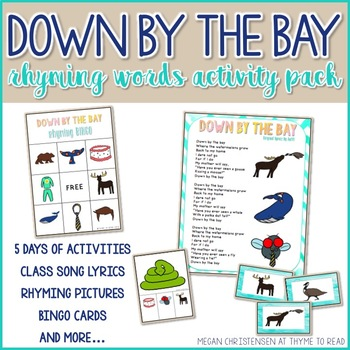 """Down by the Bay"" Rhyming Words Activity Pack"