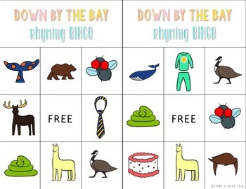 """Down by the Bay"""" Rhyming Words Activity Pack"""