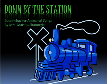 Down by the Station Children's Song Boom Whacker Animated Song.