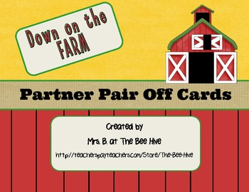 Partner Pair Off Cards Down on The Farm