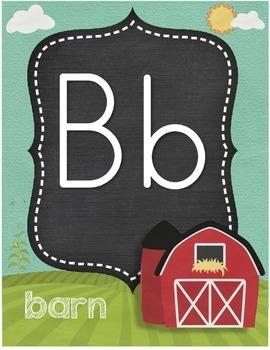 Down on the Farm Alphabet Card Set Farm Theme Alphabet Farm Animals
