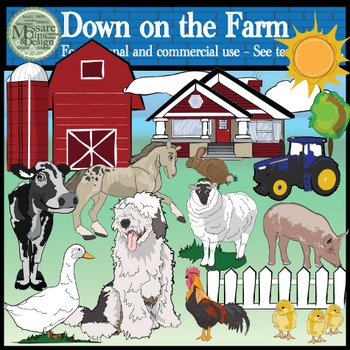 Down on the Farm Animal Clip Art Pack {Messare Clips and Design}