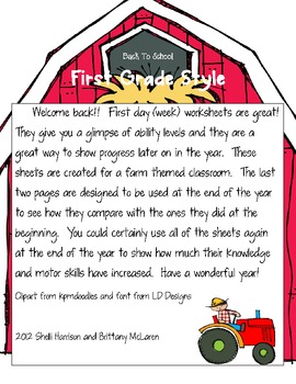 Down on the Farm Back to School Pack for First Grade