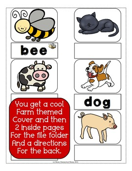 Down on the Farm - Beginner's Word Fun File Folder Activity