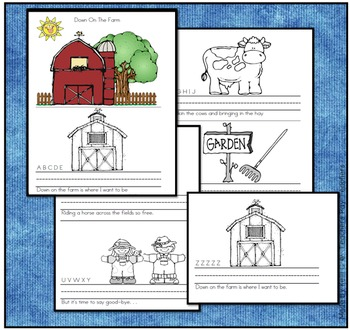 Down on the Farm Book - An Alphabet Poem and Individual Book for Kids