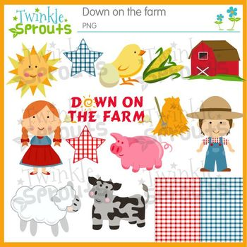 Down on the Farm Clipart and Lineart