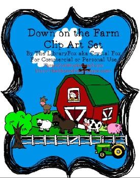 Down on the Farm Clip Art Set Farm Animals and Accessories