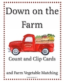 Down on the Farm Count and Clip and Matching Cards