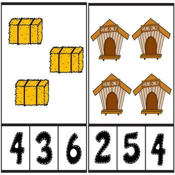 Down on the Farm Counting Number Clip Cards 1 - 20 No prep Math Center Activity