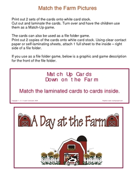 Down on the Farm File Folder Games