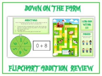 Down on the Farm Flipchart Game - Boardgame Addition Review - Common Core