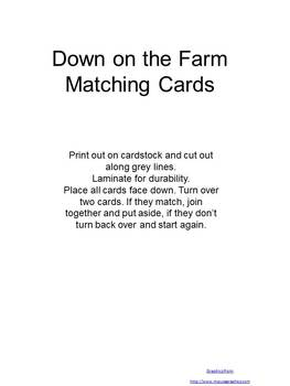 Down on the Farm Matching Cards