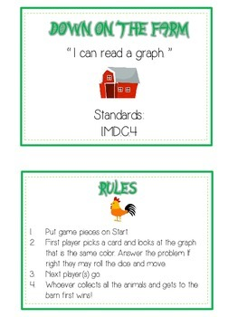 Down on the Farm Math Folder Game - Common Core - Using Graphs & Data
