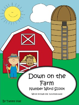 Down on the Farm Number Word Scoot Game