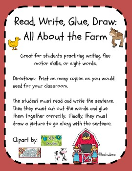 Down on the Farm - Read, Write, Glue, Draw FREEBIE