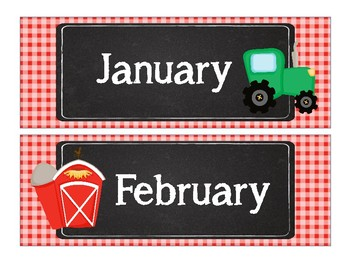 Down on the Farm Theme Calendar Bundle
