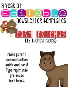 Editable Newsletter Templates (12 included): Down on the Farm Theme
