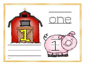 Down on the Farm Tracing and Writing Number Mats