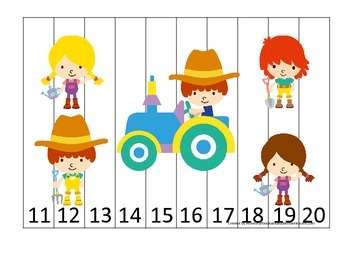 Down on the Farm themed 11-20 Number Puzzle preschool learning activity.  Homesc