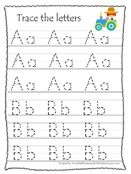 Down on the Farm themed A-Z Tracing worksheets.  Preschool writing practice work
