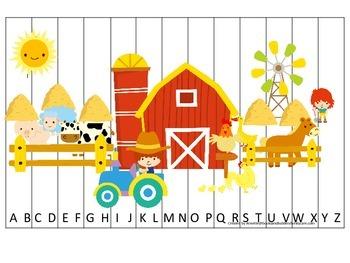 Down on the Farm themed Alphabet Puzzle preschool learning activity.  Homeschool
